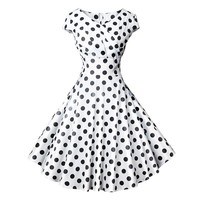Plus Size Women Summer Dress 50s Vintage Casual Elegant White Polka Dot V Neck Party Work Office Dress Retro Rockabilly Vestidos