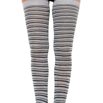Striped Leg Warmers Extra Long 40 Inch, 30 Inch Thigh High's & 16 Inch Stretch Knit, High Quality KD dance Made In USA
