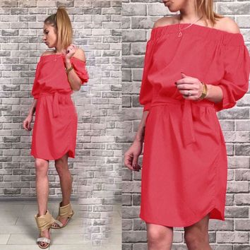 Off Shoulder Cocktail Mini Dress With Belt