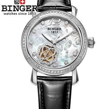 2017 Fashion watches luxury brand Binger stainless steel women Leather Flower wristwatches Rhinestone Switzerland watch