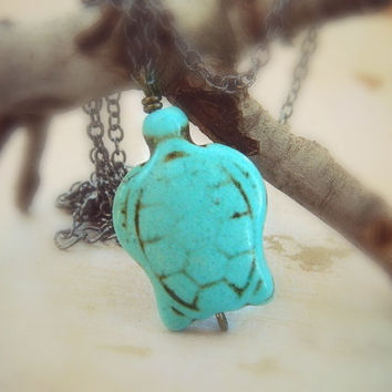 Turtle Necklace -Turquoise- Blue, Aqua, Ocean, Sea, Brown, Bronce, Dark, Fall, Kids, Girl, Teen, Animal, Jewelry Necklace, Turquoise Jewelry