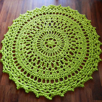 Ready to ship- Giant Crochet Doily Rug in Lime Green -Chartreuse - Chunky Circles- Cottage Chic-  Oversized- home decor- floor-