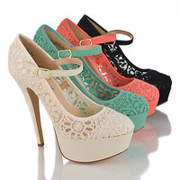 Realove07 Almond Toe Lace Mary Jane Platform Stiletto Heel Dress Sandals