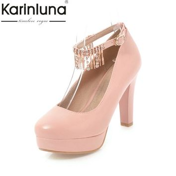 KARINLUNA 2018 Platform Fringe Buckle Strap Women Shoes  High Heels Office Lady Dating Party Wedding Pumps Woman Footwear