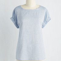 Mid-length Short Sleeves Rows and Columnist Top