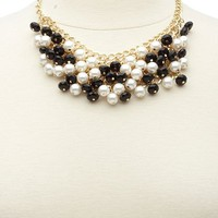 BEAD & PEARL DANGLY BIB NECKLACE