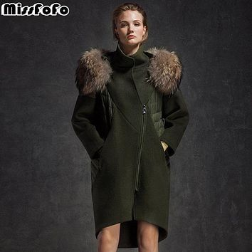 MissFoFo 2017 New Fashion Parka Winter Jacket Large Fur Collar Wool Outerwear down patchwork women's winter woolen overcoat