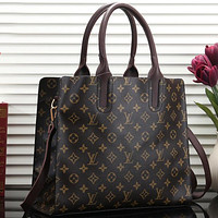 Louis Vuitton LV Women Leather Zipper Shopping Shoulder Bag Handbag