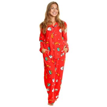 Cozy Fleece Long Sleeve Button Up Pajama Pants Set