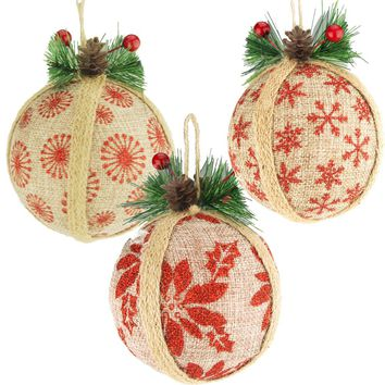 Hanging Burlap Glitter Christmas Ornament, 4-inch, 3 Piece