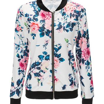 Streetstyle  Casual Band Collar Floral Printed Bomber Jacket