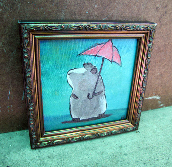 Whimsical Bathroom Wall Decor : Original painting framed whimsical wall from andralynn