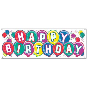 Beistle 50135 Happy Birthday Banner  5' x 21""
