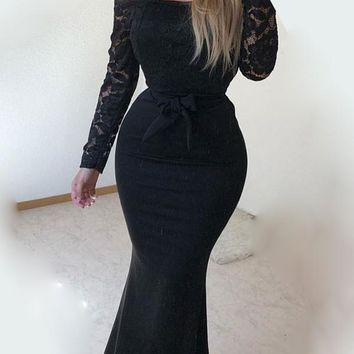 New Black Patchwork Lace Bow Off Shoulder Long Sleeve Cocktail Party Maxi Dress