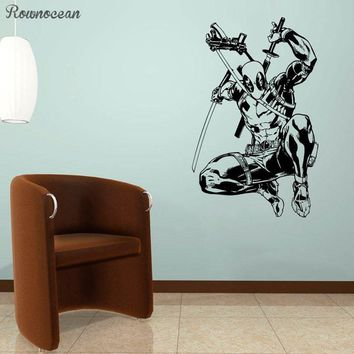 Deadpool Dead pool Taco  Vinyl Sticker  Superhero Wall Art Animated Poster Boys Room Decals Interior Print Decorations Murals Gift SP23 AT_70_6