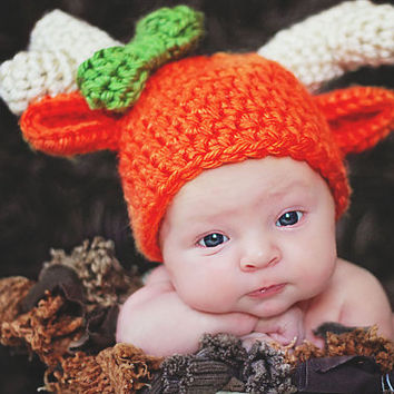 Girls Hunting Reindeer Baby Hat Newborn Photo Prop Deer Baby Hat Newborn Baby Girl Hat Orange Daddys Little Hunter Antlers with Green Bow