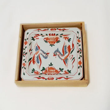 Vintage Asian Dish - Square Porcelain Handpainted Dish - IMARI Sanyo Porcelain Square Dish - Handpainted Birds - Asian Bird Dish