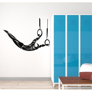 Vinyl Wall Decal Air Athlete Gymnastics Rings Gymnast Sport Decor Stickers Mural (g995)