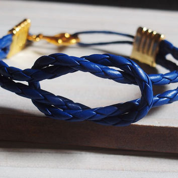 Blue Nautical Bracelet men, Gold Anchor bracelet, knot bracelet anchor, gold mens anchor bracelet, mens gold bracelet gold anchor bracelet