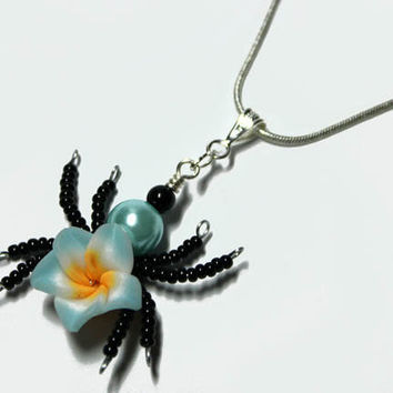 Aromatherapy Beaded Spider Wire Wrapped  Polymer Clay Tropical Flower Bead PERFUME Pendant 5