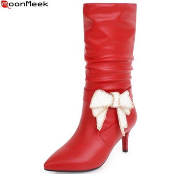 MoonMeek black red white fashion women shoes pointed toe ladies boots pointed toe pu leather high heels mid calf boots big size