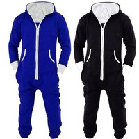Adults Unisex Onesuits Pyjamas Mens Women One Piece Cotton Pajamas Sleepwear Onesuits Sleepsuit Black/Blue