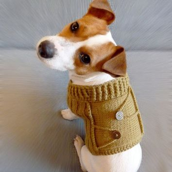 SALE 15 off / Knitted Mustard Dog Sweater / Dog costume / by mailo