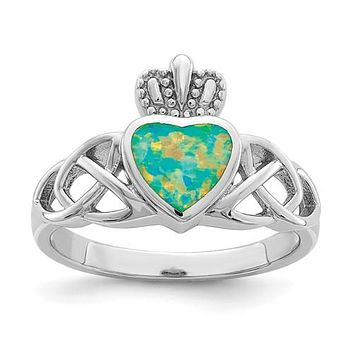 Sterling Silver Lab Created Opal Heart Crown Claddagh Ring
