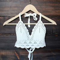 bohemian crochet crop top - white