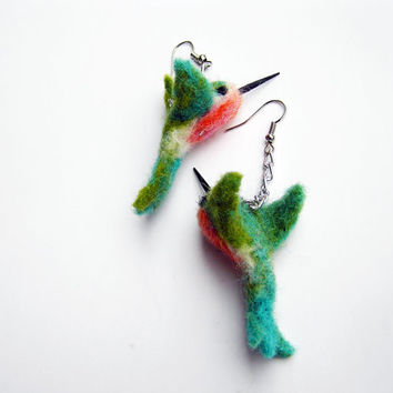 Hummingbird earrings- needle felted bird - eco friendly jewelry - wool earrings- felted dangle earrings- organic- needle felted hummingbird