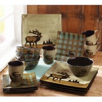 Stoneware Dinnerware Set 16 Piece Elk Country Cabin Rustic Square Dinner Plate