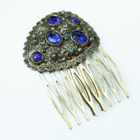 Vintage Brass/Gold and Blue Rhinestone Haircomb