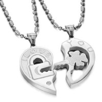 "Valentine Couple`s ""Love You"" Lock and Key Pendant Necklaces Titanium Stainless Steel (One Pair): Jewelry: Amazon.com"