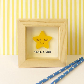 You're A Star - Small Laser Cut Smiling Star 3D Box Picture Inspirational Print - Cute Motivational Gift