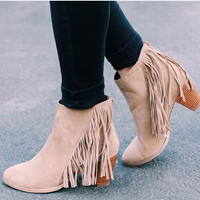 Audra Fringe Booties - Taupe