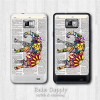 Samsung Galaxy S2 case - Floral Elephant on Dictionary Page - galaxy S2 cover, Black / Clear hard SII case