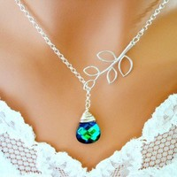 PEACOCK NECKLACE, Wedding Necklace - Aqua Sphinx, Silver Branch Lariat | Vivian-Feiler-Designs - Jewelry on ArtFire