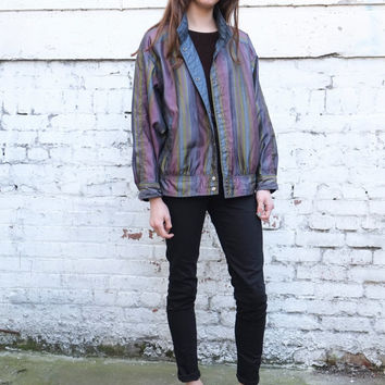 Vintage Reversible 1990's Metallic Blue Striped Anorak Windbreaker Jacket S/M