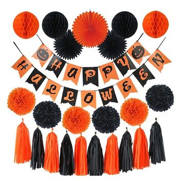 HAOCHU 24pcs/set Happy Halloween Party Decoration Orange Black Paper Pom Pom Tissue Fan Crazy Pumpkin Banner Flag