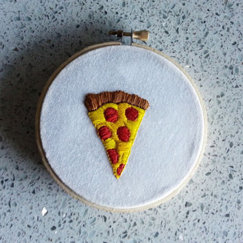 Embroidery Piece / Pizza Emoji / Finished Embroidery Design