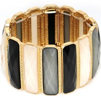 Black White Grey Faux Stone Gold Tone Stretch Bracelet