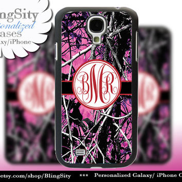 Camo Red Monogram Galaxy S4 case S5 RealTree Muddy Camo Personalized Samsung Galaxy S3 Case Note 2 3 Cover Country Girl