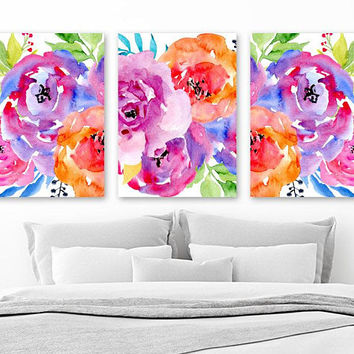Colorful WATERCOLOR Flower Wall Art, Watercolor Flower Bedroom Art Pictures, Colorful Floral Watercolor Wall Decor, Set of 3 Canvas or Print