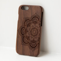 Mandala No 1 Wooden iphone case - real wood engraved walnut case for iphone 6, iphone 6 plus, iphone 5/5s, iphone 5c