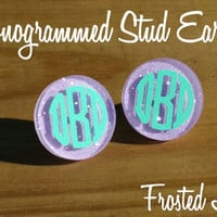Frosted Lavender Acrylic vinyl Monogram stud post Earrings PLUS BONUS GIFT!!