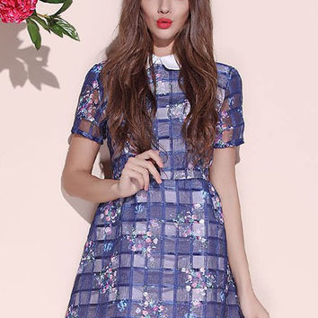 Blue Checkered Floral Print Dress