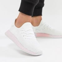 adidas Originals Deerupt Sneakers In White And Lilac at asos.com