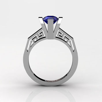 Modern Classic 14K White Gold 1.0 Carat Blue Sapphire Bridal Solitaire Wedding Ring Engagement Ring R1024-14KWGBS