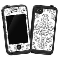 Dainty Black and White Damask Skin  for the iPhone 4/4S Lifeproof Case by skinzy.com