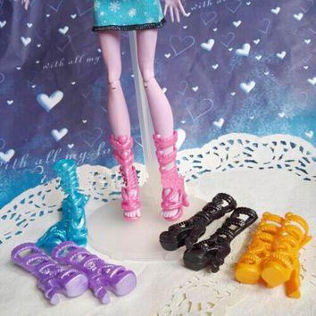5pairs/lot 2016 New Fashion Shoes For Monster High Dolls High Quality High Heel Boots Shoes Doll Accessories Kids Toy